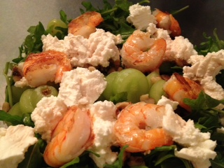Grape, Goat Cheese & Walnut Salad with Shrimp