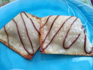 Peanut Butter and Banana Filled Egg Roll Wrappers w/ ChocolateDrizzle