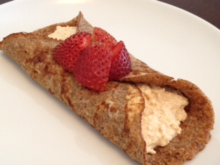 Cinnamon Crepes with Peanut Butter Cream Filling